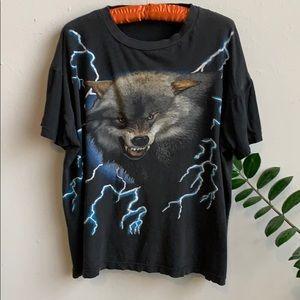 🦋 Vintage American Thunder Wolf Biker T Shirt